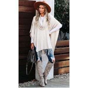 Lovestitch Ivory Fringe  Poncho One Size